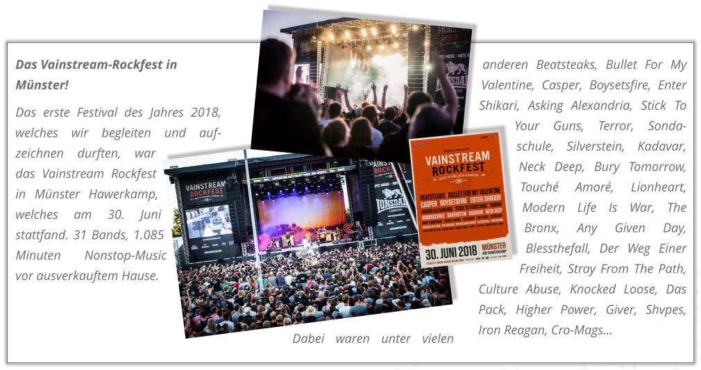 Das Vainstream-Rockfest in Münster! Das erste Festival des Jahres 2018, welches wir begleiten und auf-zeichnen durften, war das Vainstream Rockfest in Münster Hawerkamp, welches am 30. Juni stattfand. 31 Bands, 1.085 Minuten Nonstop-Music vor ausverkauftem Hause.  Dabei waren unter vielen anderen Beatsteaks, Bullet For My Valentine, Casper, Boysetsfire, Enter Shikari, Asking Alexandria, Stick To Your Guns, Terror, Sonda-schule, Silverstein, Kadavar, Neck Deep, Bury Tomorrow, Touché Amoré, Lionheart, Modern Life Is War, The Bronx, Any Given Day, Blessthefall, Der Weg Einer Freiheit, Stray From The Path, Culture Abuse, Knocked Loose, Das Pack, Higher Power, Giver, Shvpes, Iron Reagan, Cro-Mags...